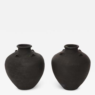 19th Century Pair of Black Terracotta Wine Vessels
