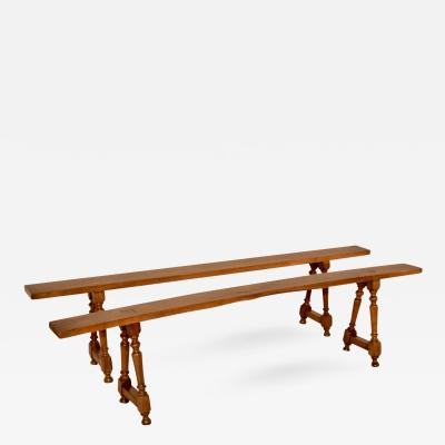 19th Century Pair of Cherry Benches