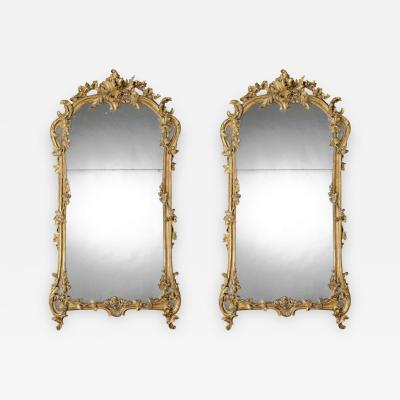 19th Century Pair of French Giltwood Mirrors in the Louis XV Taste