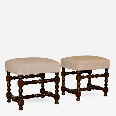 19th Century Pair of French Turned Stools