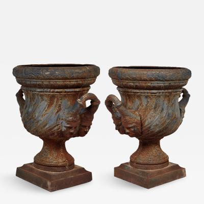 19th Century Pair of Iron Garden Urns
