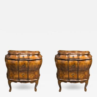 19th Century Pair of Italian Rococo Style Walnut Commodes