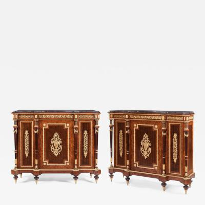 19th Century Pair of Kingwood and Ormolu Cabinets of the Napoleon III Period