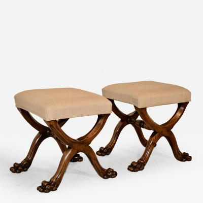 19th Century Pair of Mahogany Stools