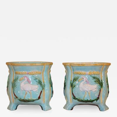 19th Century Pair of Majolica Jardinieres