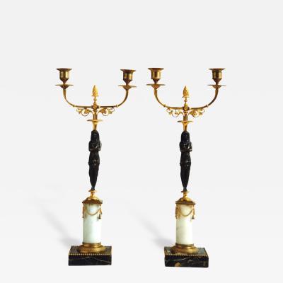 19th Century Pair of Swedish Gustavian Candlesticks