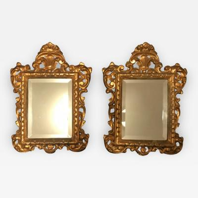 19th Century Pair of Venetian Hand Carved Gilded Mirrors Italy