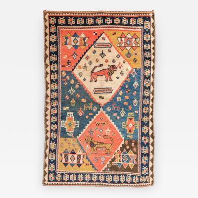 19th Century Persian Wool Rug Gabbeh Design circa 1880