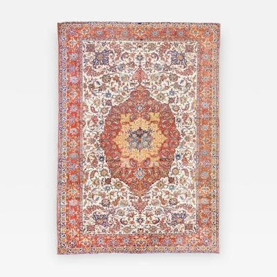 19th Century Persian Wool Rug Ispahan Medallion Design circa 1890