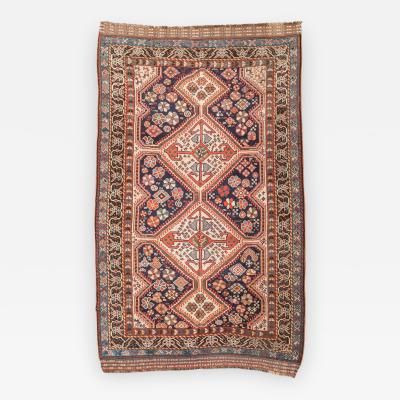 19th Century Persian Wool Rug Kasghay with Diamonds Flowers and Animals Design