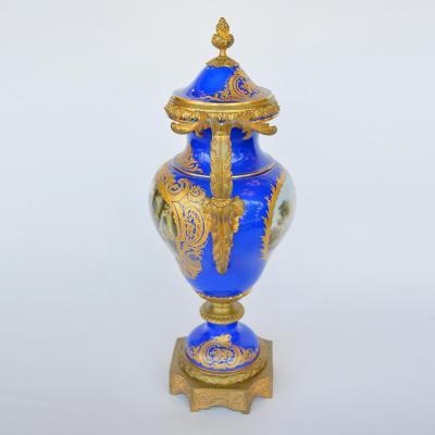 19th Century Porcelain Sevres Vase With Gild Bronze