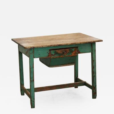 19th Century Primitive Painted Dough Farm Table with Large Drawer
