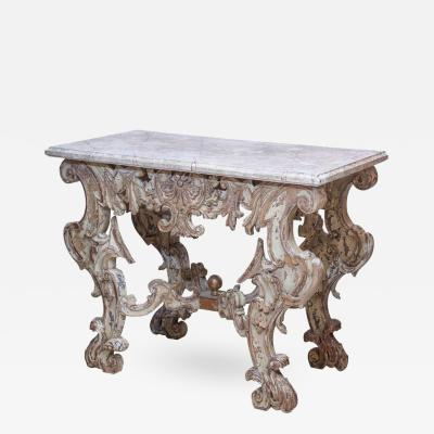 19th Century Rococo Carved Console with Faux Marble Top