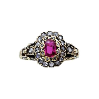 19th Century Ruby Diamond Gold Cluster Ring