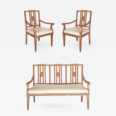 19th Century Russian Neo Classical Settee and Chairs
