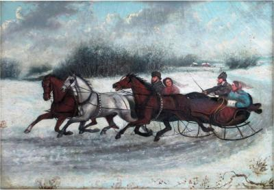 19th Century Russian Painting Winter Scene Circa 1880s Unsigned