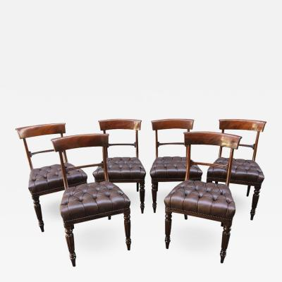 19th Century Set of Six Philadelphia Baltimore Mahogany Tufted Leather Chairs