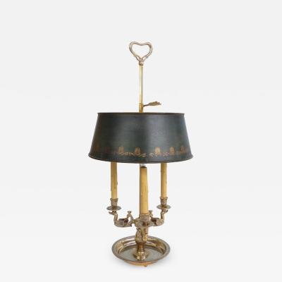 19th Century Silvered Bronze Bouillotte Three Arm Lamp with Stenciled Tole Shade