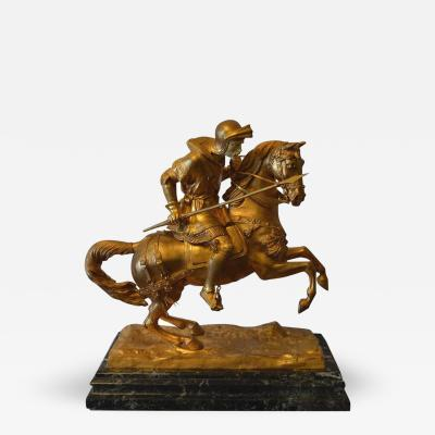 19th Century Solid Bronze and Marble Horse