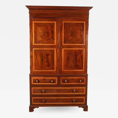 19th Century South American Mahogany Linen Press