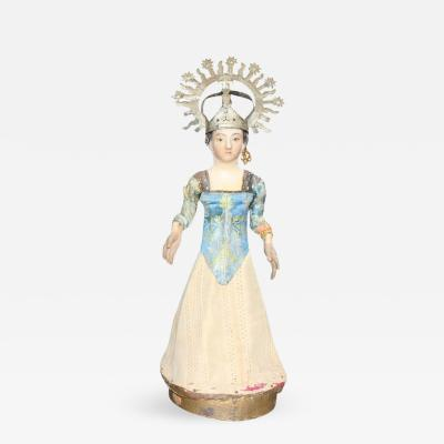 19th Century Spanish Wooden Polychrome Virgin Sculpture with Original Clothing