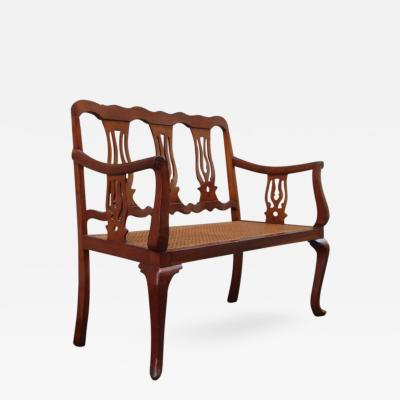 19th Century St Croix Regency Mahogany and Cane Bench