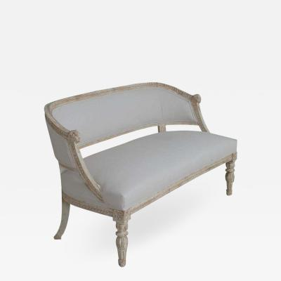 19th Century Swedish Gustavian Style Settee With Goat Heads In Original Paint