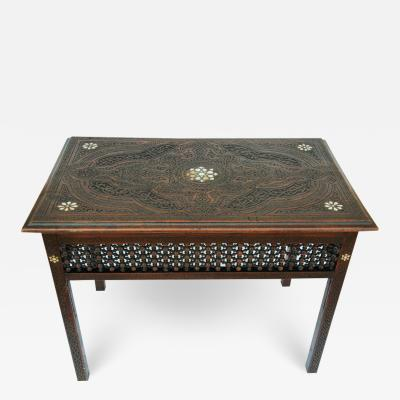 19th Century Syrian Moorish Tea Table Inlaid with Mother of Pearl