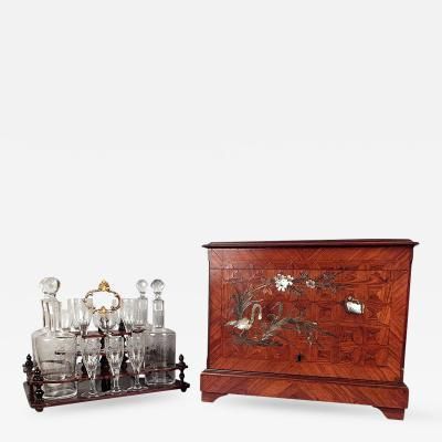 19th Century Tantalus Set w Mother of Pearl Inlay