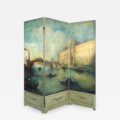 19th Century Venetian Painted Oil on Canvas Screen Signed L D Mott Guardi