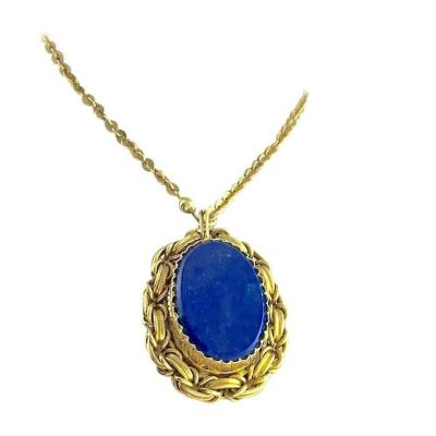 19th Century Victorian Lapis Lazuli Gold Pendant Bracelet