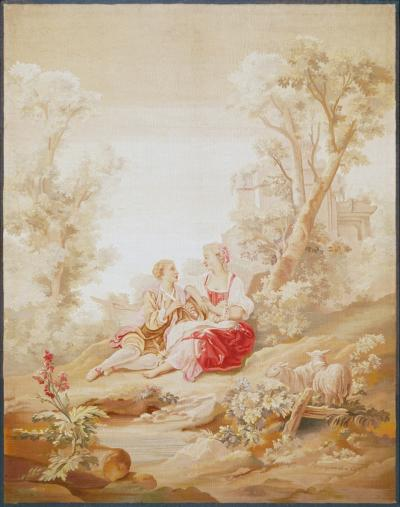 19th Century antique tapestry from Aubusson A Romantic Scene
