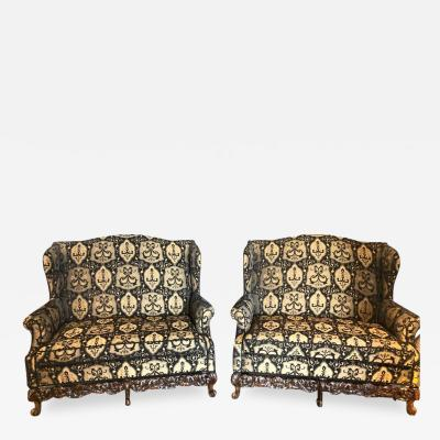 19th Early 20th Century Settees Canapes Rococo Style in Fine Fabric