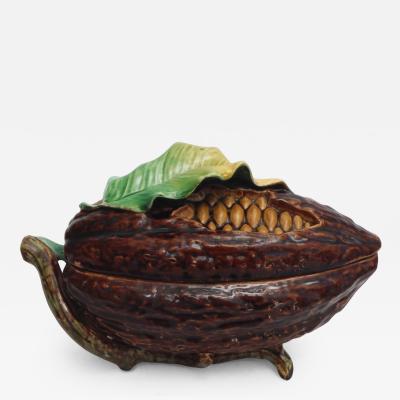 19th Majolica Cocoa Bean Box