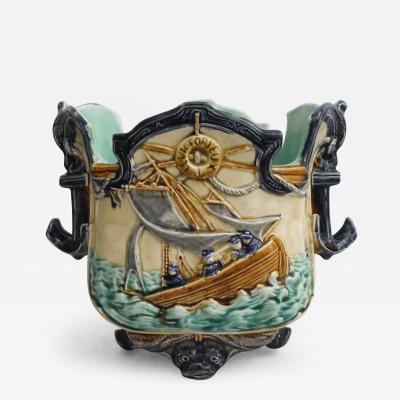 19th Majolica Nautical Cachepot