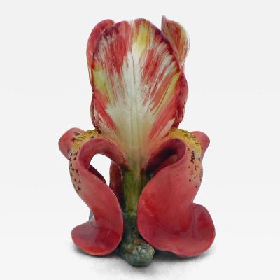 19th Majolica Pink Iris Vase