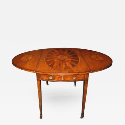 19th c English Mahogany George III Pembroke Table w Inlaid Fan Sunburst
