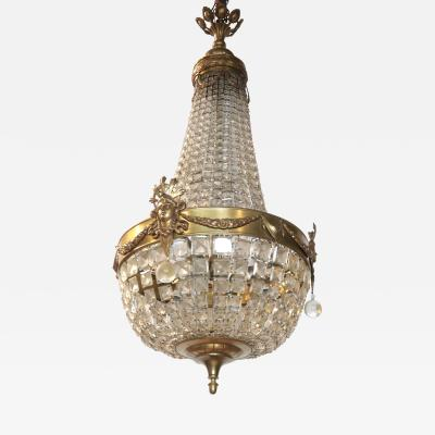 19th c French Bronze and Crystal Chandelier