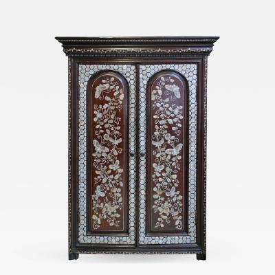 19th c French Colonial Cabinet with Mother of Pearl