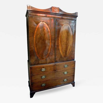19th c Mahogany George III English Linen Press