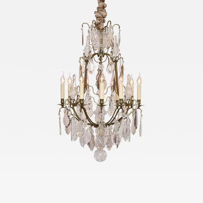 19th c antique French bronze and crystal chandelier style of Louis XV
