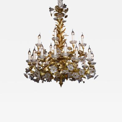 19th c gilt bronze French floral chandelier