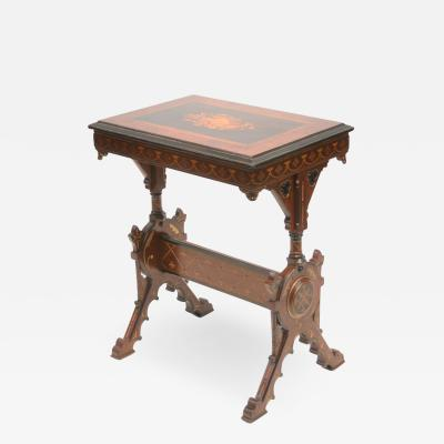 19th century Gothic side table Marquetry Inlaid Gold incised carved base