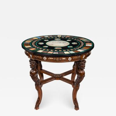 19th century Italian micro mosaic and specimen marble top centre table