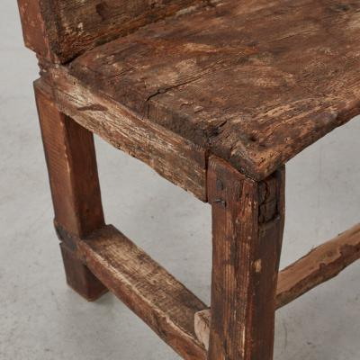19th century wooden bench Pyrenees France 1800s