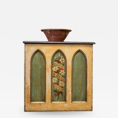 19thC Decorative Painted Chapel Cupboard