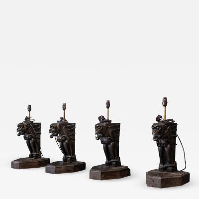 19thC Ebonised Carved Winged Serpent Gargoyle Table Lamps