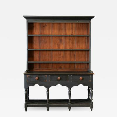 19thC Ebonised Potboard Pine Dresser