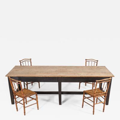19thC English 3 Plank Oak Refectory Table