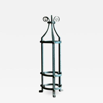 19thC English Blacksmith Handmade Wrought Iron Stick Umbrella Stand